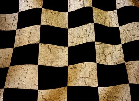 motor race: Grunge geruite vlag op een gebarsten achtergrond