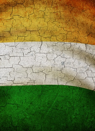 Irish flag on a cracked grunge background