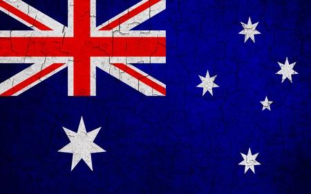 Australian flag on a cracked grunge background Stock Photo