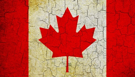 Canadian flag on a cracked grunge background Stock Photo