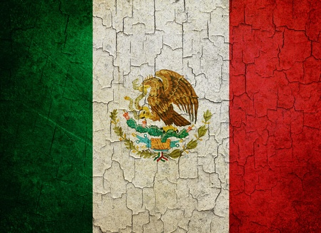 Mexican flag on a cracked grunge background Stock Photo