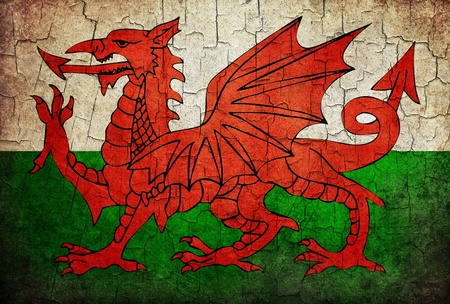 Welsh flag on a cracked grunge background