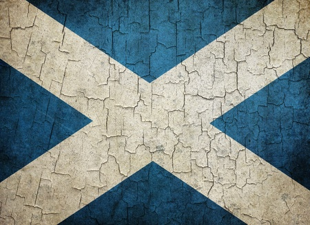Scottish flag on a cracked grunge background