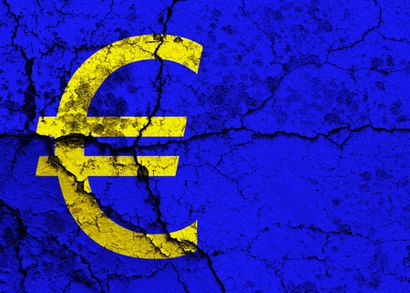 Simbolo dell'Euro su uno sfondo grunge cracking
