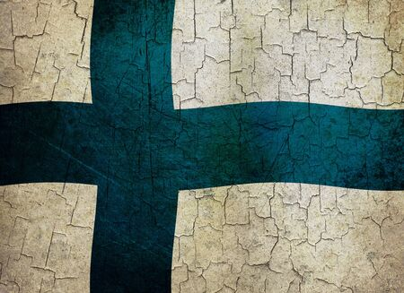 Finnish flag on a cracked grunge background Stock Photo - 12191309