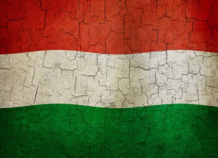 Hungarian flag on a cracked grunge background Stock Photo - 12191308