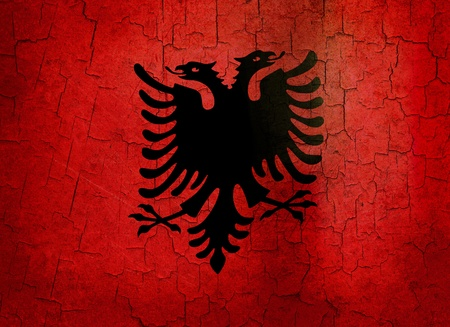 double headed: Albanian flag on a cracked grunge background
