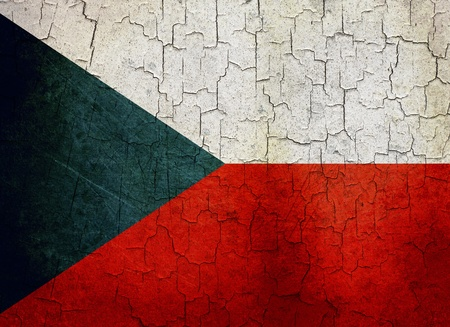 Czech Republic flag on a cracked grunge background photo