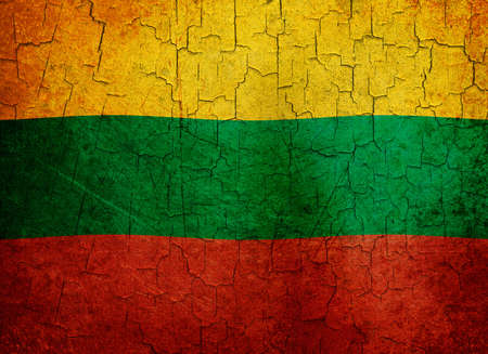 Lithuanian flag on a cracked grunge background photo