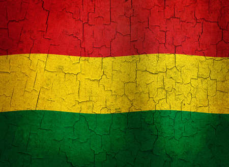 Bolivian flag on a cracked grunge background  photo