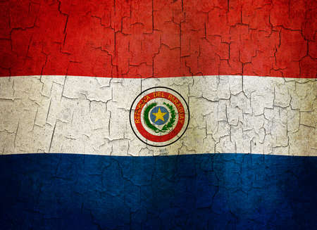 Paraguayan flag on a cracked grunge background Stock Photo - 12191317