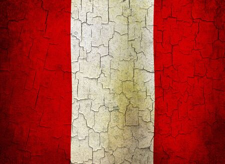Peruvian flag on a cracked grunge background Stock Photo - 12191316