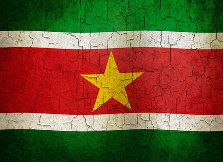 Surinamese flag on a cracked grunge background Stock Photo - 12191318