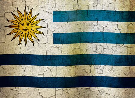 Uruguayan flag on a cracked grunge background Stock Photo - 12191320