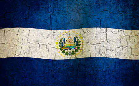 El Salvador flag on a cracked grunge background  photo