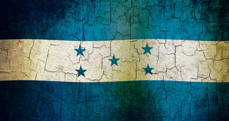 bandera honduras: Honduras bandera sobre un fondo grunge agrietado Foto de archivo