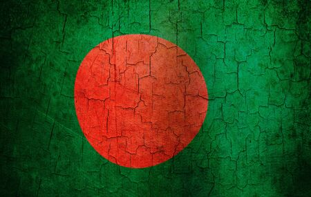 Bangladesh flag on a cracked grunge background  photo