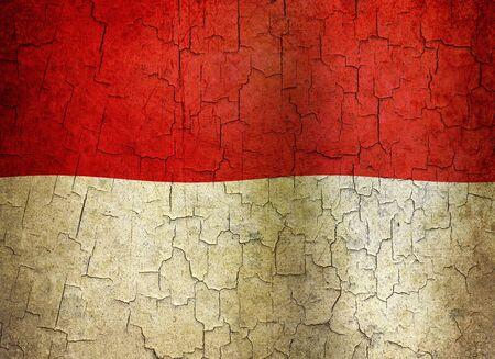 Bandiera Indonesia su uno sfondo grunge crackizzati