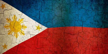 philippino: Philippines flag on a cracked grunge background Stock Photo