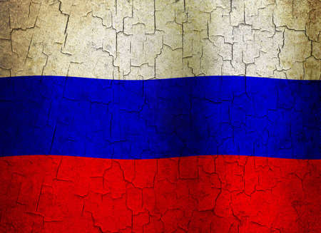 Russian flag on a cracked grunge background