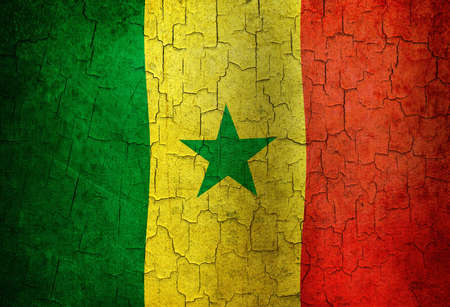 Senegal flag on a cracked grunge background