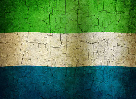 Sierra Leone flag on a cracked grunge background photo