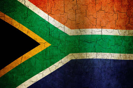 South Africa flag on a cracked grunge background