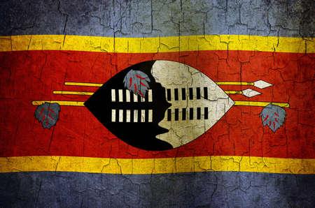 Swaziland flag on a cracked grunge background Stock Photo - 12803010