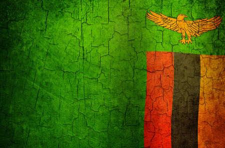 zambia flag: Zambia flag on a cracked grunge background Stock Photo