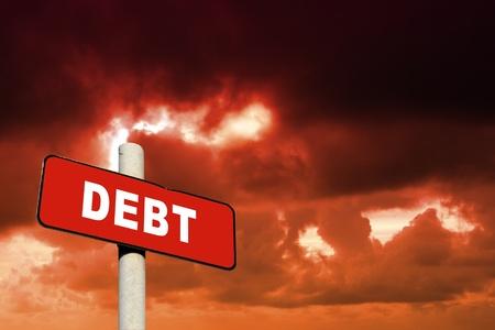 show bill: Signo de la deuda Roja contra un cielo rojo