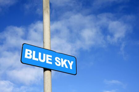 lingo: Blue sky sign against a blue sky