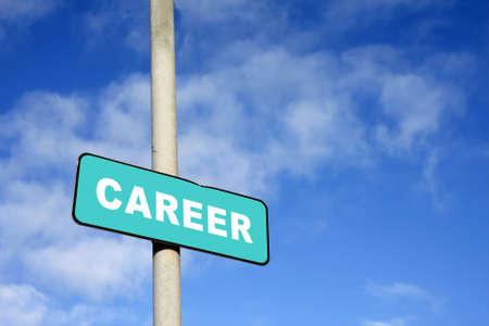 Career sign against a blue sky photo