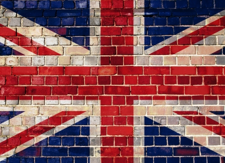 british flag: Union flag on a brick wall background