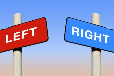 Left and right signs against a blue sky