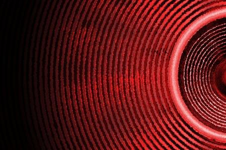 Red audio speaker sound waves background Standard-Bild