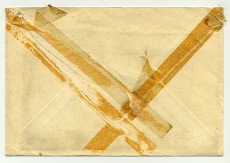 Back of an old used envelope with sticky tape Stock Photo - 15996823