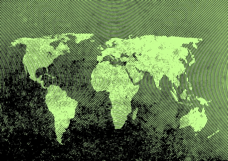 Green grunge world map background photo