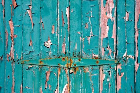 flaking: Weathered green door, grungy peeling paint background