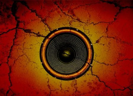 Altoparlante audio su uno sfondo muro rotto
