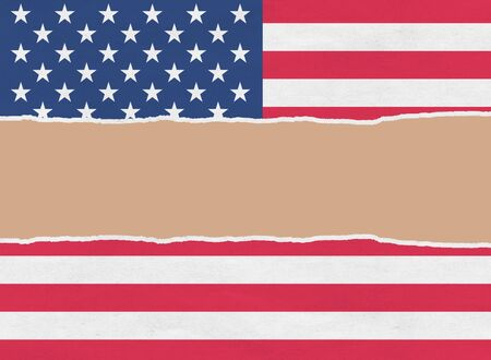 United States of America flag wrapping paper torn through the centre Stock Photo - 16325403