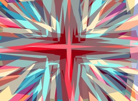 Explosive religious cross starburst background