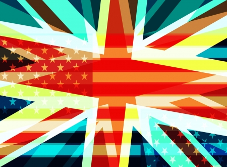 Abstract British and American flags photo
