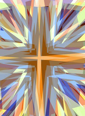 Esplosivo religioso croce sfondo starburst