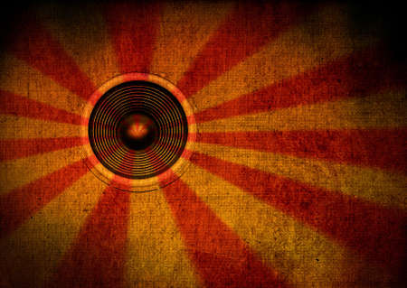 Red and yellow grunge starburst speaker photo
