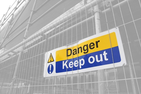 fencing wire: Danger Keep Out sign with lightened background