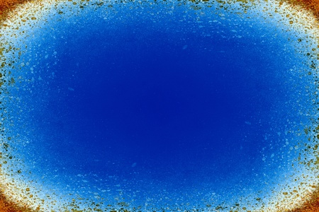 spattered: Abstract blue background with an orange speckled border