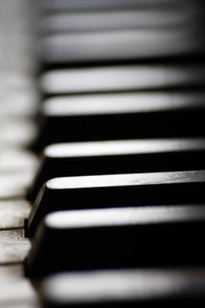 ebony wood: Old piano keys close up, selective focus Stock Photo