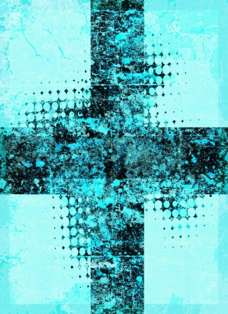 Light blue grunge cross with halftone pattern Stock Photo