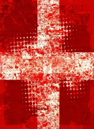 Red grunge croce con pattern mezzetinte