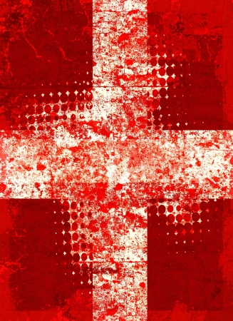 Red grunge cross with halftone pattern